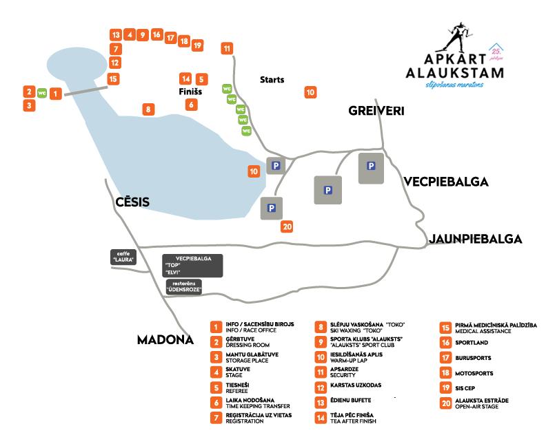 Apkārt Alaukstam 2017 slēpošanas maratona teritorijas karte